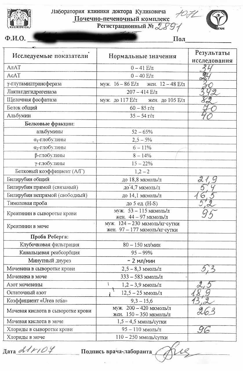 Почечно печеночный анализ крови справка о беременности для суда